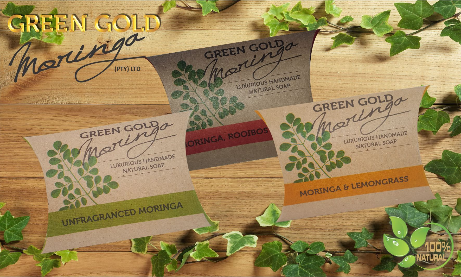 Two NEW Green Gold Moringa Natural Handmade Soaps