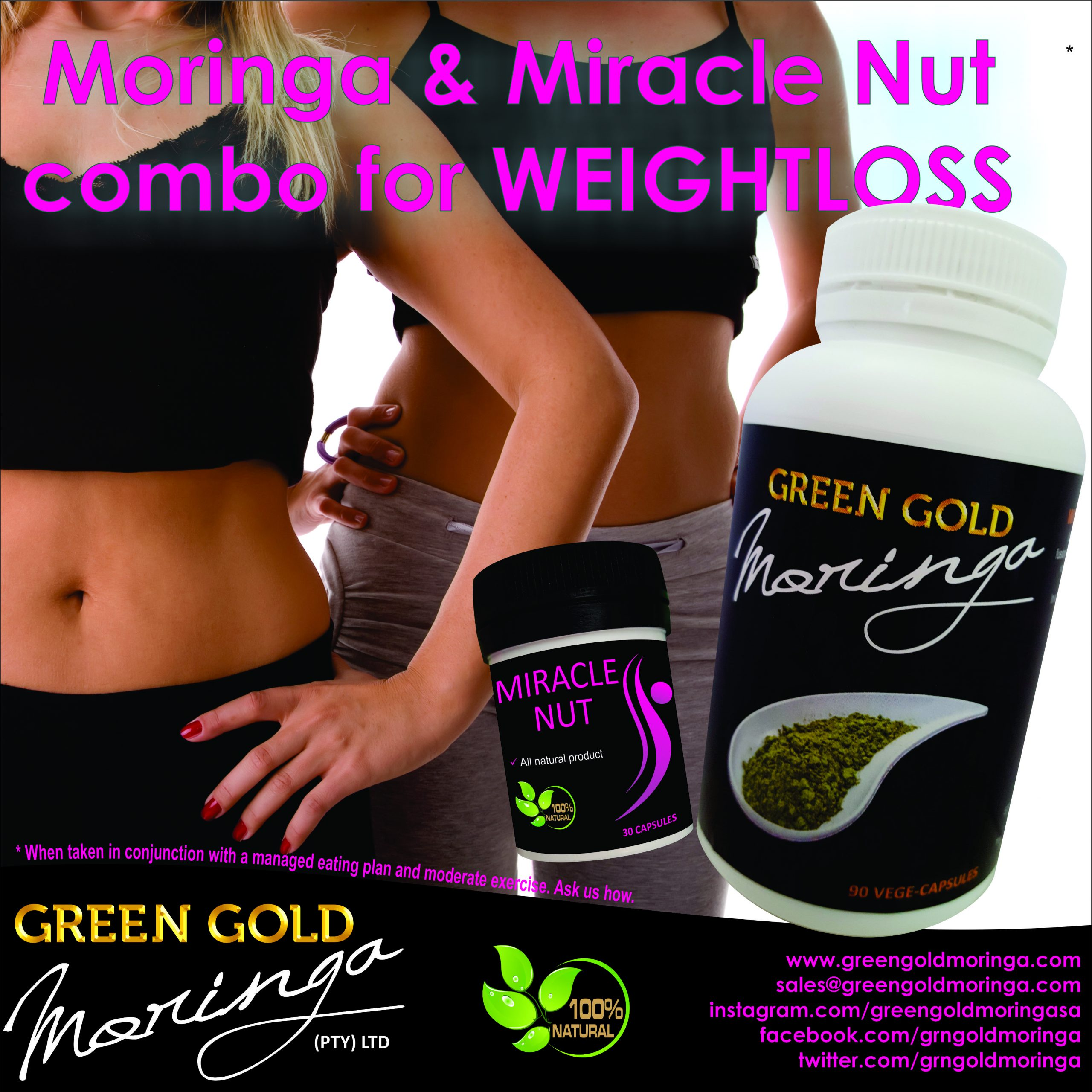 Green Gold Moringa and Miracle Nut helps with weight management