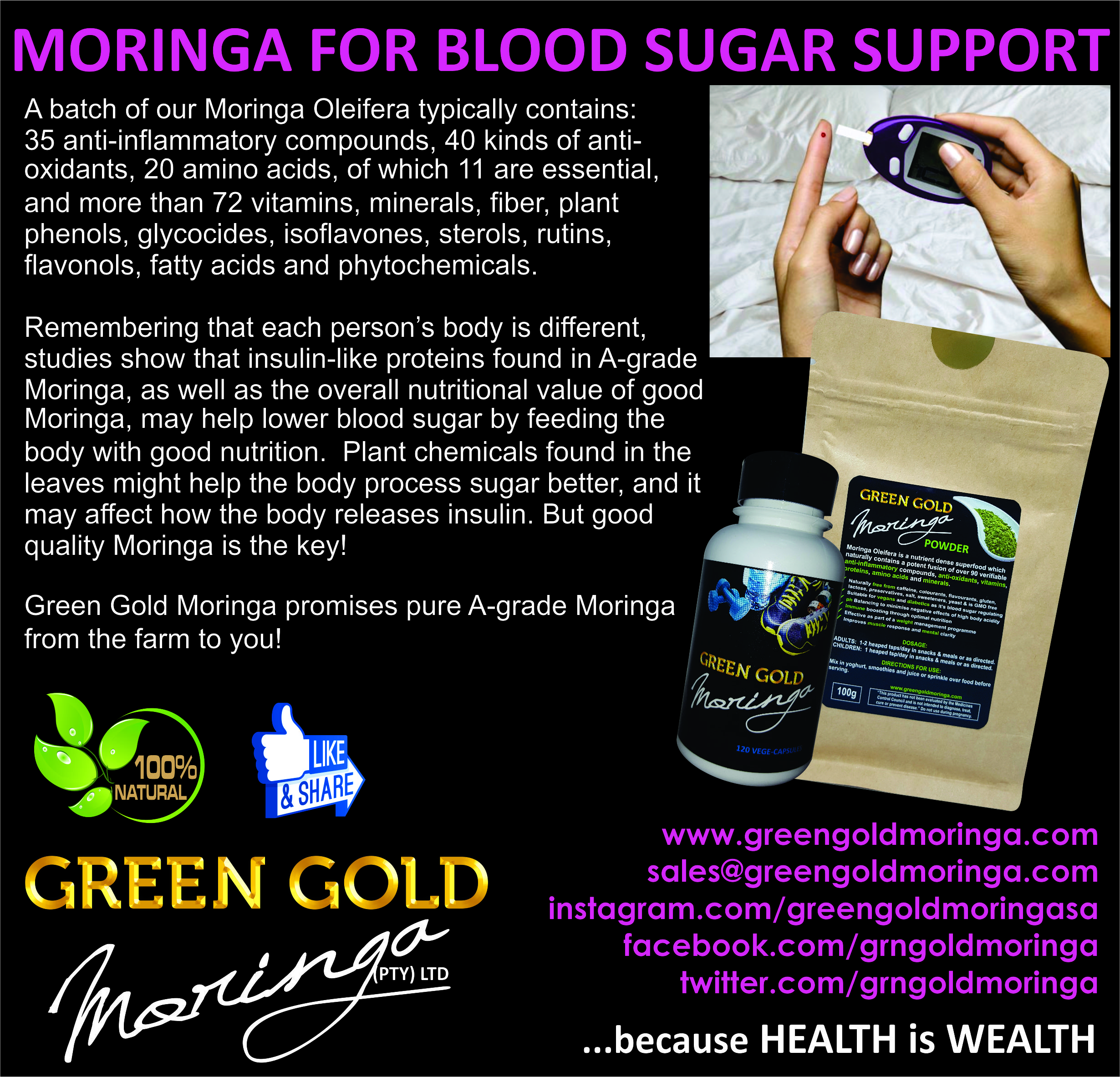 Green Gold Moringa products for Blood Sugar Control