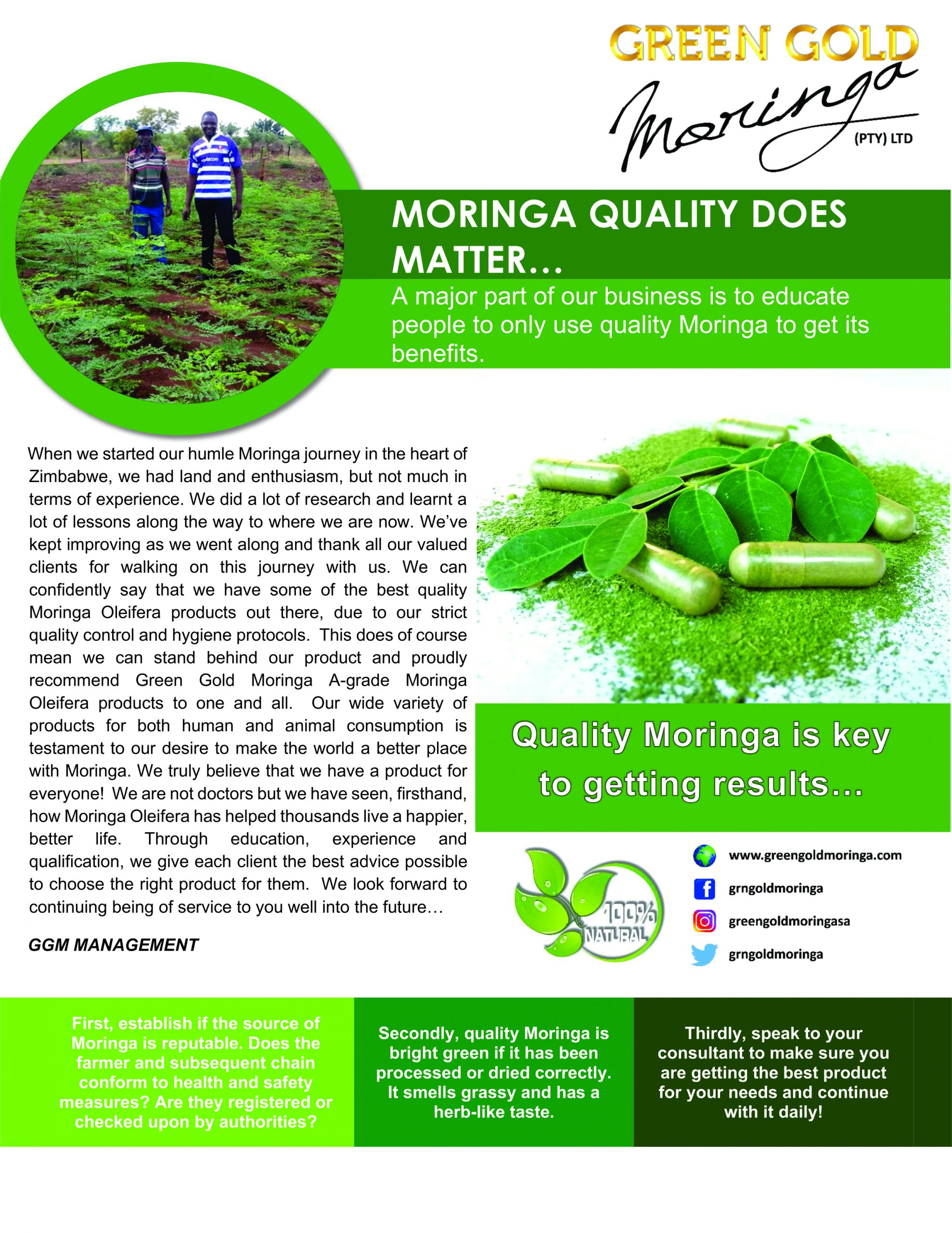 MORINGA QUALITY DOES MATTER…IF YOU WANT RESULTS THAT IS!